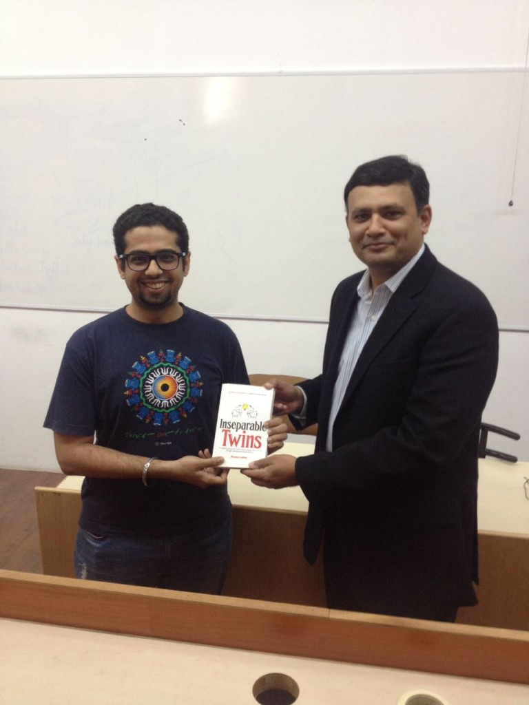 "Receiving ""Inseparable Twins"" from the product leader Rahul Abhyankar"
